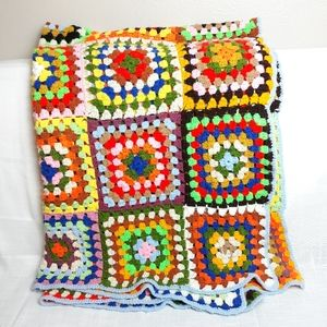 Vintage colorful granny square throw blanket